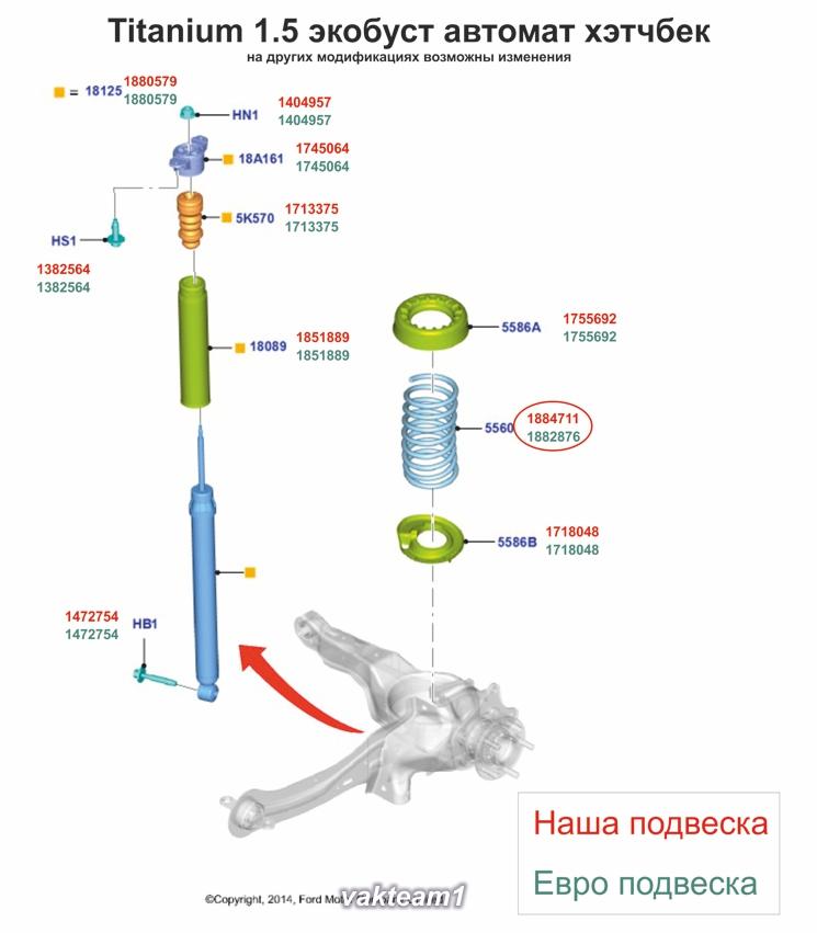 Разница задней подвески Фокуса 2015 eur рус