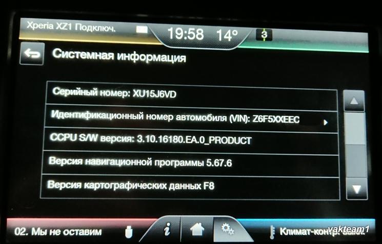 Снимок экрана информации о навигации Ford F8 для SYNC2