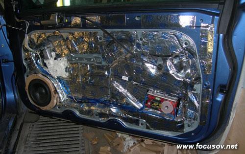 Шумоизоляция алюминиевой части двери Форда Фокуса 2