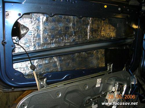 Шумоизоляция внутренней части двери Форда Фокуса 2