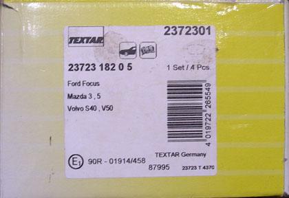 Передние колодки для автомобиля Форд Фокус 2 Textar 23723