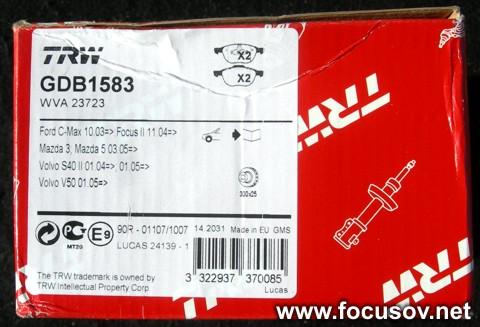 Тормозные колодки TRW/Lucas GDB1583 Корбка 2